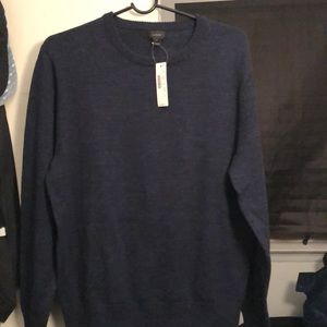 Feathered navy wool/cotton sweater